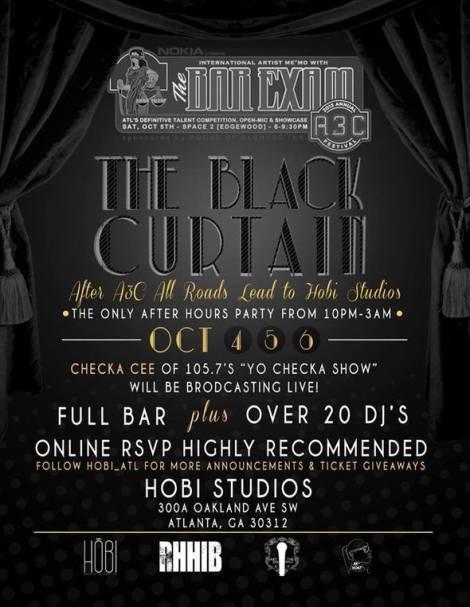 black curtain flyer